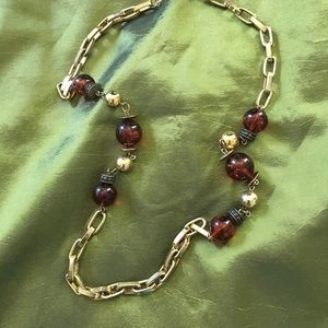 "Jewelry - Amber Color with Large Chain Link Chain. 13""—14"""
